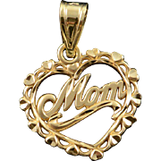 14K Mom Word Cut Out Filigree Heart Charm/Pendant Yellow Gold