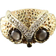 10K 1970'S Retro Tiger's Eye Diamond Textured Owl Face Ring Size 9 Yellow Gold