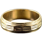 14K Faceted Design 6mm Wedding Band Ring Size 9.25 Yellow Gold