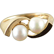 10K 6mm Pearl Bypass Twist Ring Size 6.75 Yellow Gold