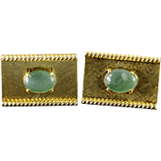 18K 9.5x7.5mm Oval Jade Rectangle Cuff Links Yellow Gold  [QPQX]