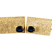14K 2.00 CTW Sapphire Oval Retro Rectangle Cuff Links Yellow Gold