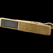14K 12x5mm Black Hematite Tie Bar  Yellow Gold