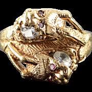 10K Stunning Ruby Eye Dragon Head Wrap Around Band Ring Size 10 Yellow Gold
