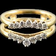 14K 0.30 CTW Diamond Inset Wedding Band Guard Ring Size 5.25 Yellow Gold