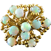 14K Statement 4.5mm Opal Cluster Retro Ring Size 7 Yellow Gold