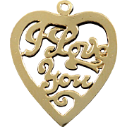14K I Love You Word Heart Cut Out Charm/Pendant Yellow Gold