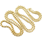"10K Heavy Multi Loop Link Chain Necklace 30"" Yellow Gold"