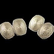 10K Fancy Ribbon Scroll Oval Cuff Links White Gold