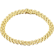 "14K Fancy Link Bracelet 7.25"" Yellow Gold"