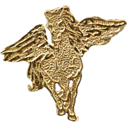 14K Pegasus Flying Horse Wings Charm/Pendant Yellow Gold