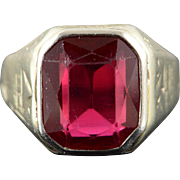 14K 8.00 CT Created Ruby Art Deco Men's Engraved Ring Size 9 White Gold