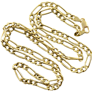 "14K 3.8mm Heavy Figaro Link Chain Necklace 20.5"" Yellow Gold"