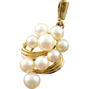 14K Vintage 4-5mm Mikimoto Pearl Cluster Pendant Yellow Gold