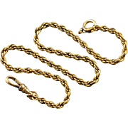 """Gold Filled Simple Rope Chain Pocket Watch Fob  13"""""""