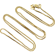 "14K 0.8mm Box Link Chain Necklace 18"" Yellow Gold"