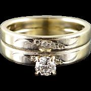 14K Retro 0.26 CTW Diamond Engagement Wedding Band Ring Size 5.5 Yellow Gold