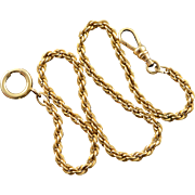 """Gold Filled Rope Link Chain Pocket Watch Fob  13.25"""""""