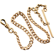 """Gold Filled Victorian Simple Link Pocket Watch Fob Chain  12"""" Yellow Gold"""