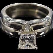 14K EGL 1.20 Ct Princess D VVS2 Solitaire 1.50 Ctw Wedding Band Diamond Engagement Ring Size 5.25 White Gold