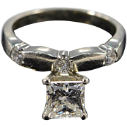 14K EGL 1.20 Ct Princess D VVS2 Solitaire 1.50 Ctw Wedding Band Diamond Engagement Ring Size 5.25 White Gold [QPQQ]