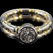 18K EGL 1.00 Ct Round F SI3 Pipe Zaruba Designer Diamond Engagement Ring Size 5 White Gold