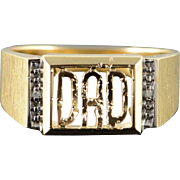 10K Genuine Diamond Inset 'Dad' Cut Out Men's Ring Size 9.75 Yellow Gold