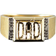 10K Genuine Diamond Inset 'Dad' Cut Out Men's Ring Size 9.75 Yellow Gold [QPQQ]