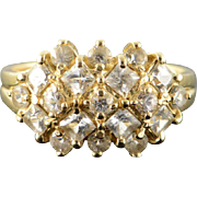 14K 1.50 CTW CZ Cluster Checkered Mound Ring Size 8 Yellow Gold