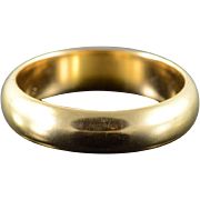 14K 5.5mm Plain Rounded Wedding Band Men's Ring Size 9.75 Yellow Gold [QPQQ]