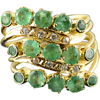 18K 1.75 CTW Emerald 5 Connected Puzzle Ring Size 5.75 Yellow Gold [QPQQ]