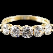 14K 2.50 CTW CZ 5 Stone Wedding Band Ring Size 9.25 Yellow Gold