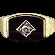 10K 0.15 CT Diamond Inset Black Onyx Ring Size 7 Yellow Gold