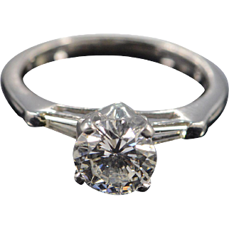 Platinum IGI 1.34 Round I SI2 1.59 CTW Baguette Accent Antique Diamond Engagement Ring - Size 5 /