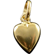 14K Hollow Puffy Heart Charm/Pendant Yellow Gold