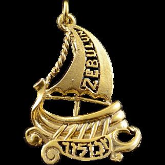 10K Zebulun Viking Sailboat Hebrew Judaica Jewish Charm/Pendant Yellow Gold  [QPQQ]