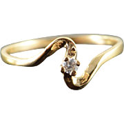 10K CZ Solitaire Bypass Simple Engagement Ring Size 8 Yellow Gold