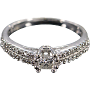 10K 0.25 Ct Princess H/I2 0.45 Ctw Inset Band Diamond Engagement Ring Size 4.5 White Gold