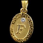 14K F' Letter Greek Key Oval Initial Monogram CZ Accent Charm/Pendant Yellow Gold