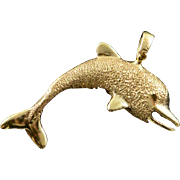14K Jumping Dolphin Animal Textured Charm/Pendant Yellow Gold