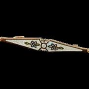 Gold Filled Art Nouveau White Enamel Seed Pearl Pin/Brooch