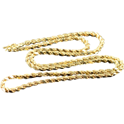 """14K 3mm Rope Link Chain Necklace 22.25"""" Yellow Gold"""