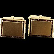 14K 1.50 CTW Red Garnet Border Engraveable Rectangle Retro Cuff Links Yellow Gold