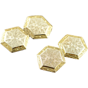 10K Engraved 1940's Sectagon Two Tone Vintage Cuff Links Yellow Gold