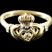 10K Genuine Diamond Claddagh Irish Love Heart Hand Ring Size 8.25 Yellow Gold