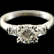 14K 0.90 CT Center 0.95 CTW Diamond Engagement 1940's Vintage Ring Size 6 White Gold