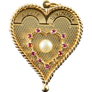 14K A Date to Remember 1960'S Heart Anniversary Pearl Ruby Charm/Pendant Yellow Gold