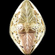 14K Filigree Black Hills Grape Leaf Ring Size 6.75 Yellow Gold
