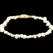 "14K 3.5mm Freshwater Pearls Ball Bracelet 7"" Yellow Gold"