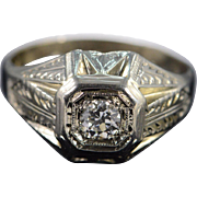 18K Art Deco 0.33 Ct Round I/SI1 Filigree Vintage Diamond Engagement Ring Size 8.25 White Gold